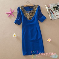 women's embroidered  silverstrand short-sleeve slim plus size dress candy color slim puff sleeve slim waist dress winter dress