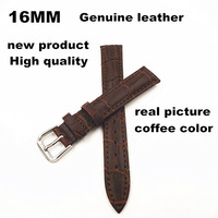2014 New arrived - wholesale 10PCS/lots High quality 16MM genuine cow leather Watch band  watch strap coffee color -061904