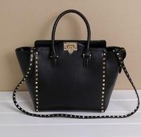 2014 New Cowhide Real Leather Women's Handbags European Style Designer Rivet Shoulder Bags Fashion Famous Brand Cross Body Bag