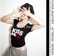 Black and White 2014 summer hot sale short sleeve KISS ME print t-shirt,sexy slim show thin cotton basic t shirt,promation S/M/L