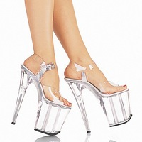 FREE SHIPPING 2014 LD-S1538 Sexy PVC Transparent Buckle Strap 20CM High Sandal Wedding/Party/Dress/Nightclub/Crystal Shoes