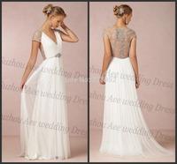 Luxury V Neck Floor Length Sexy Beaded Back Tulle Simple White Summer Wedding Dresses 2014 A Line Bridal Gown Vestidos De Noiva