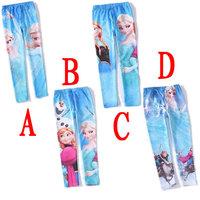 Free shipping 2014 New Girls Frozen legging girl Elsa's leggings Anna long pants Baby Printed trousers 4 designs 6pcs/lot