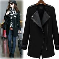 2014 New Winter / Fall High Quality Fashion Women Casual Black  Overcoat Contrast PU Leather Trims Oblique Zipper Coat, Q105