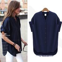 Cheap xl 2xl 3xl 4xl 5xl 6xl plus size women clothings 2014 summer chiffon blouses and shirts work wear blue