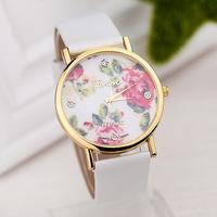 2014 New Arrival Geneva Wristwatches Peony Summer Fashion Flower Garden Style Quartz Watches Women Dress Watch 10 COLOR