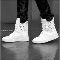 Men's high top shoes punk rivets studded shoes Ankle shoes fashion sneakers