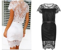 Free Shipping Sexy Lace 2 piece set women skirt top,conjunto saia e blusa,ladies Summer crop top pencil skirt set clothing