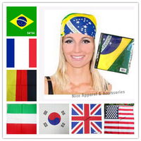 Hot Selling  2014 Brazil World Cup Cotton Scarves Nation Flag hiphop hip-hop scarf Headband Bandana Accessories
