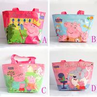 20pieces/lot  4 pattern wholesales cartoon peppa pig waterproof nylon hand bag for children kids boy pepa shopping bag