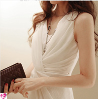 Chiffon White Slim Fit Sexy Tank Dresses 2014 Women's Fashion One Piece Dress Black Mini Dress Size S-M-L-XL