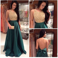 Elegant New Arrival Bateau Sleeveless Gold Lace Applique Nude Back Cute Bow Dark Green Evening Dress Party Gowns Events Dresses