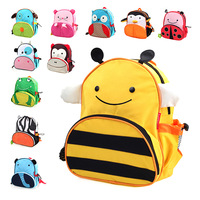 Canvas double-shoulder kindergarten school bag kids cartoon school bag baby cute animal backpack zoo pack for children