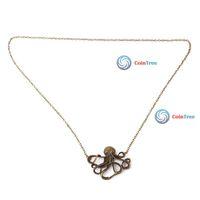 Economic benefit cointree 1PCS 2PCS Vintage Bronze Cute Octopus Long Chain Necklace Pendant High Quality DIY