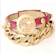 Strap color Golden plated Chain wristwatch Casual Quartz watch new 2014 multicolor women Ladies
