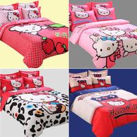 hello kitty queen full twin size bedding set,cartoon bed sheet bedclothes for children kids bed linen