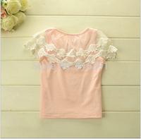 2014 Summer new arrival  girls T-shirt  dell cotton Lace shirts 3T-10T light bule,pink solid color 5pcs/lot wholesale