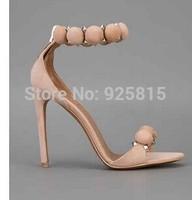 2014 Summer Fashion Sexy Open Toe Women High Heel Sandals Beige Studded Embellished Ankle Strap Thin Heel Sandals