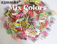 Mixed Garment Clips 25mm Fashion Wood Clips 150pcs clothes peg(can choose colors)