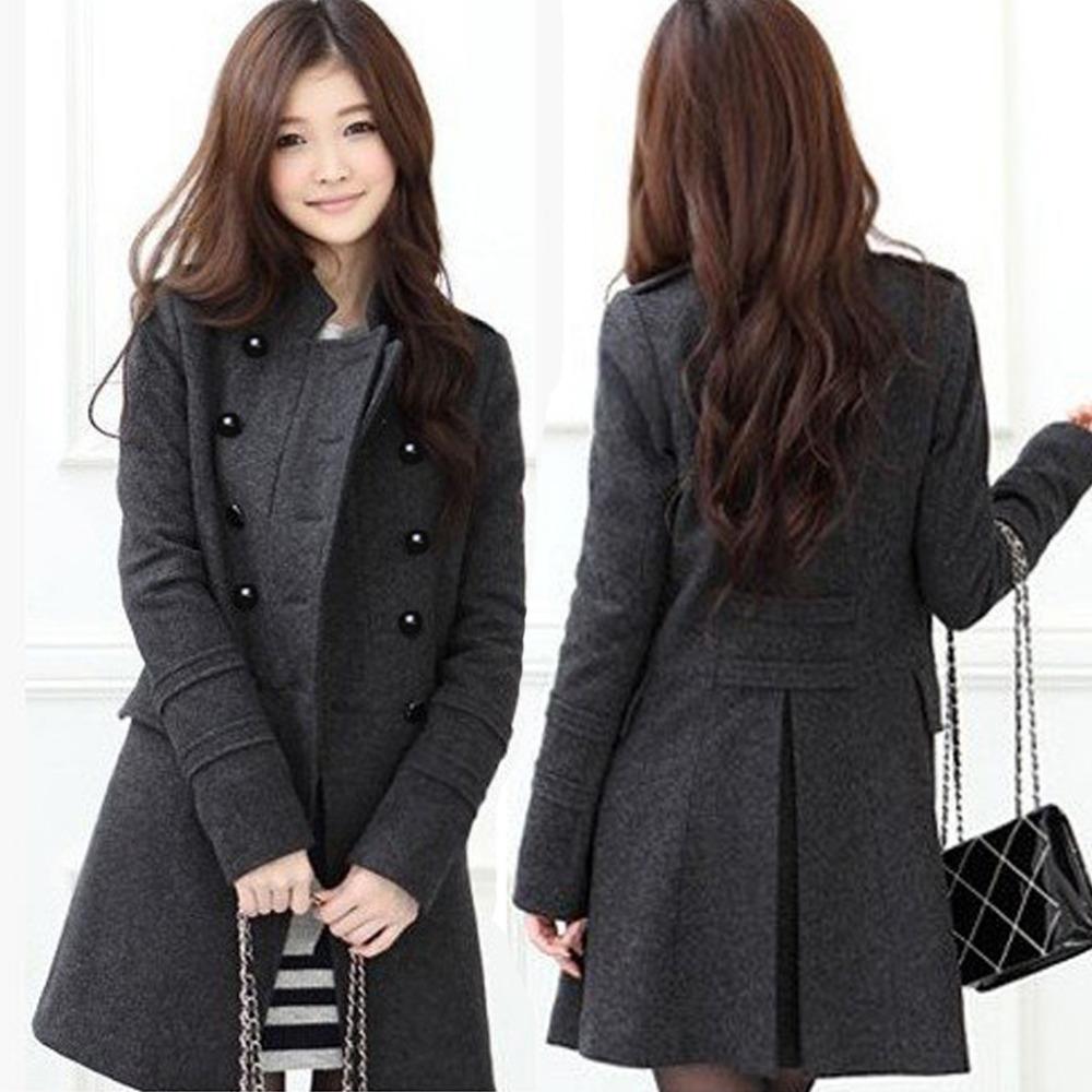 Women's black wool winter coat