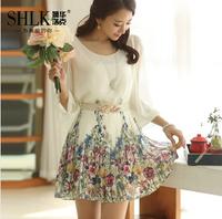 2014 spring lacing princess dress women's three quarter sleeve chiffon print one-piece dress female with belt