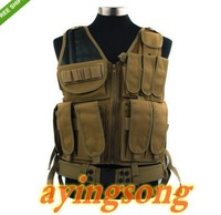 Military Tactical Mesh Designed with Holster Pouch Vest Airsoft Molle Design w/holster