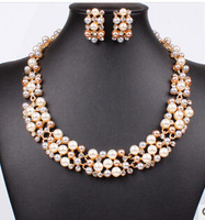 2014 Fashion Newest Flower Charm Pearl Necklace Set White Color Pearl Jewelry Set Free Shipping Jewelry For Women Wedding