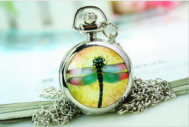 Design fashion jewelry quartz dragonfly Charming crystal pendant Pocket watch necklace(China (Mainland))