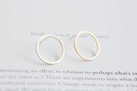 18K gold open round circle geometric stud earring Jewelry
