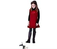 Free shipping 2014 new girls red dress girls dress wool dress children's clothing wholesale trade