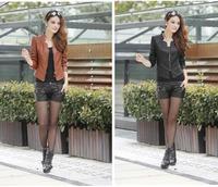 S- 3XL 2014 New Autumn women slim Simple PU Leather motor jacket coat/Feminina leather casual zipper jacket coat woman clothes