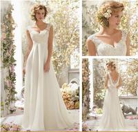 White ivory Lace Bridal Gown beach Wedding Dress Custom Size 6 8 10 12 14 16 18+