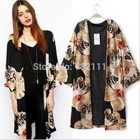 European Style Women Loose Printing Three Quarter Sleeve Cardigans Coat Cloak Blouse Ladies Casual Autumn V-Neck Clothing SY0212