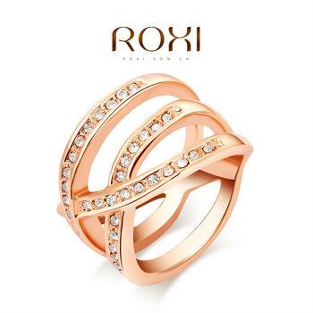 Roxi женское кольцо ручной работы, изготовлено из розового золота с трех разовым золотым напылением, украшено россыпью австрийских кристаллов, стильный дизайн и 100% качество