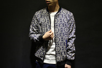 Spring 2014 Korean version of the European and American retro blue and white baseball jacket printed collar Slim tide male coat