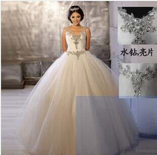 Бесплатная доставка 2014 новый двойной молнии невесты свадебное платье изысканный вышитый бисером плечо марли платья балетной пачки T922