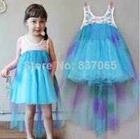 2014 Hot Sale Real Corduroy Regular Pattern Solid Sleeveless Frozen Dress Princess Elsa Vestidos De Menina Party Girls Infantis