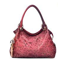 Free shipping 2014 fashion women leather handbag carving hollow out designer women's messenger bags shoulder bag L1043