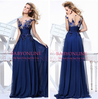 In Stock 2014 Elegant Royal Blue A-line Scoop Empire Floor-length Evening Dress Slim Chiffon Long Weddings & Events Prom Dresses
