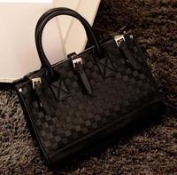 HotsaleHotPromotion   Vintage Checkerboard women leather Handbags Satchel women messenger bags Shoulder