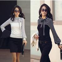 2014 Hot Sale Office Ladies Fashion Black White Striped Bow Long Sleeve OL Tops Women Camisas Blusas Femininas Shirt Work Wear
