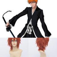 Qiyun Bleach Kurosaki Ichigo Pain Short Straight Orange Cosplay Anime Costume Wig Peluca Perucke Perruque