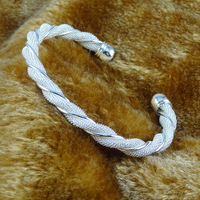 Fashion Lovely Silver Plated Copper Twisted Snake Style Bangle Open Mouth Resizable Bracelet Cuff