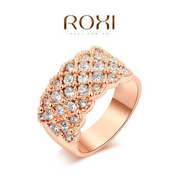 Roxi элегантное женское кольцо ручной работы, изготовлено из розового золота с трех разовым золотым напылением, украшено россыпью австрийских кристаллов, 100% качество, размеры 5-8
