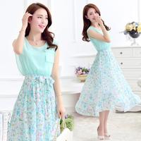 [stock] xxl summer tropical rainforest flower print chiffon long dress women bohemian floral chiffon maxi dress beach dress