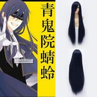 Qiyun Shoukiin Kagerou Long Straight Blue Black Cosplay Anime Costume Wig Peluca Perucke Perruque