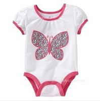 2014 Wholesale Girl Infant Rompers   Red Butterfly Baby Clothes  6-24M Playwear