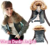 women winter short denim jacket  slim fur collar fur lined warm denim outerwear