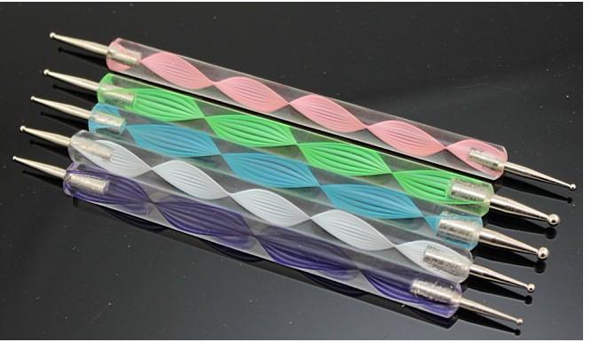 spedizione gratuita 5 pezzi che punteggiano marbleizing pittura strumento penna nail art dot che punteggiano strumento strumenti chiodo che punteggiano strumento