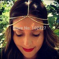 2014 New Fashion Gold Head Chain Pieces Women Boho Headpiece Headband Metal Chain Hair Head Wrap Jewelry